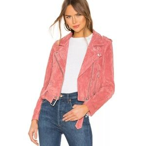 BLANKNYC Dusty Coral Pink Suede Moto Jacket